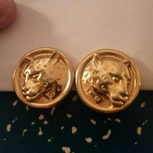 Jewelry - Vintage Gold Round Cougar Earrings Clip On.